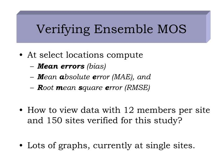 Verifying Ensemble MOS