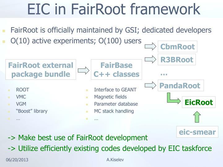 EIC in FairRoot framework