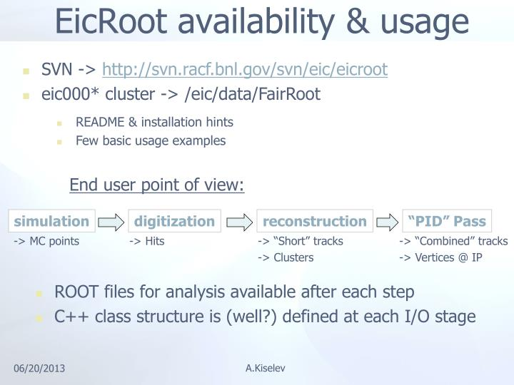 EicRoot availability & usage
