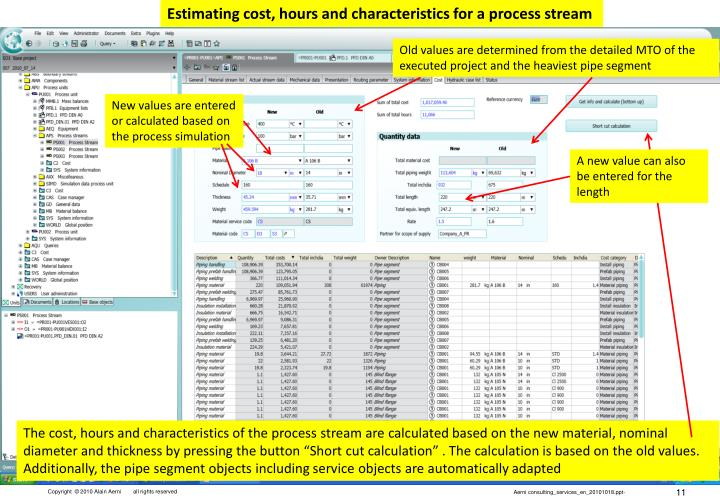 Estimating cost, hours and characteristics for a process stream