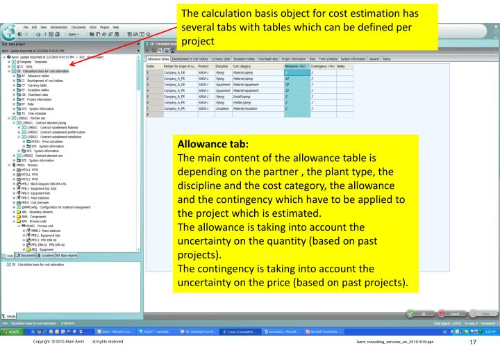 The calculation basis object for cost estimation has several tabs with tables which can be defined per project