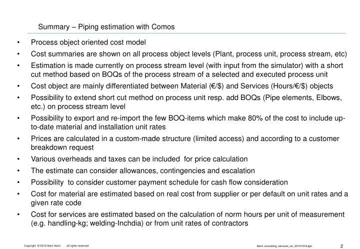 Summary – Piping estimation with Comos