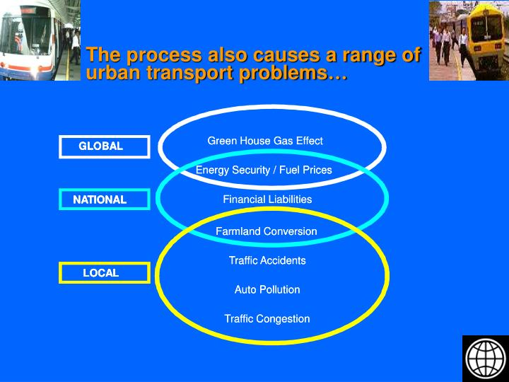 The process also causes a range of urban transport problems