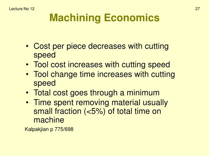 Machining Economics