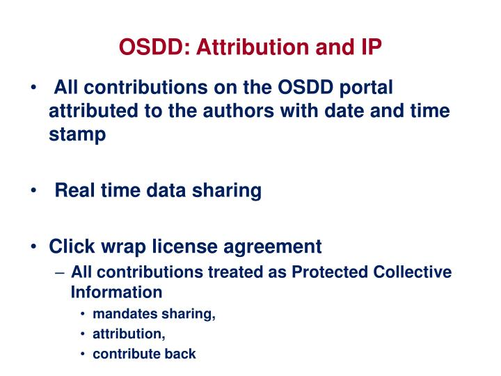 OSDD: Attribution and IP