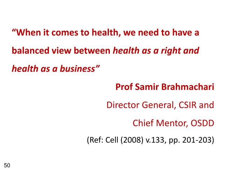 """""""When it comes to health, we need to have a balanced view between"""