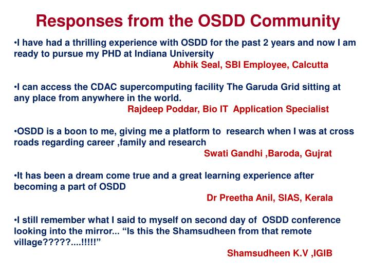Responses from the OSDD Community