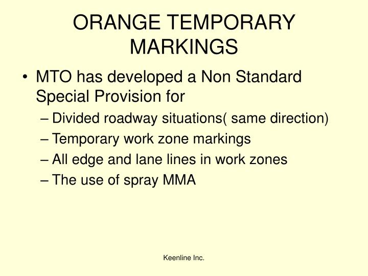 ORANGE TEMPORARY MARKINGS