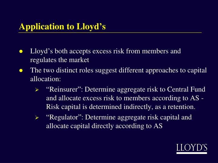 Application to Lloyd's