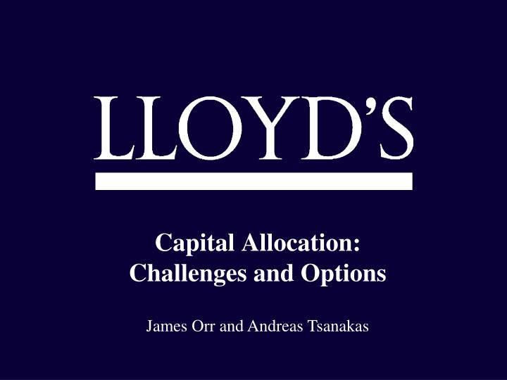 capital allocation challenges and options