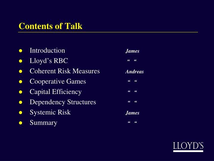 Contents of Talk