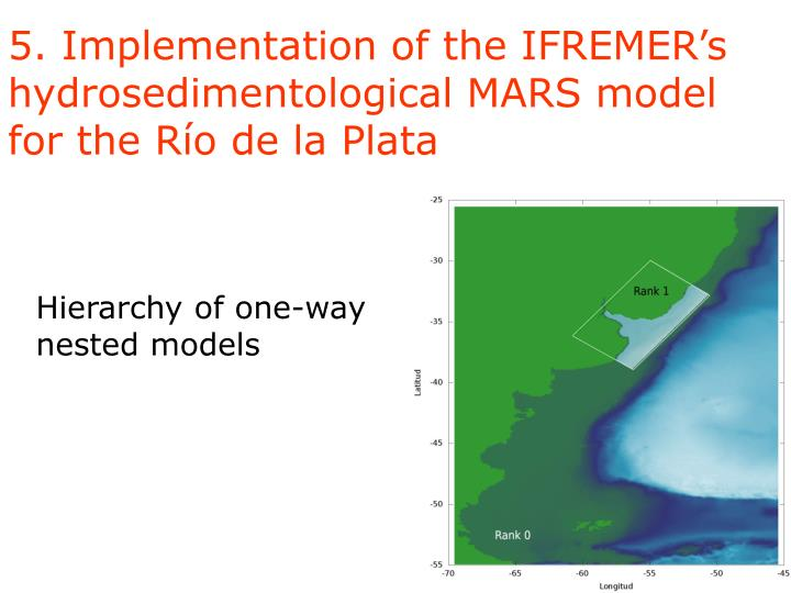 5. Implementation of the IFREMER's hydrosedimentological MARS model for the Río de la Plata