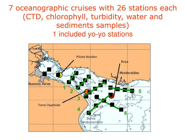 7 oceanographic cruises with 26 stations each