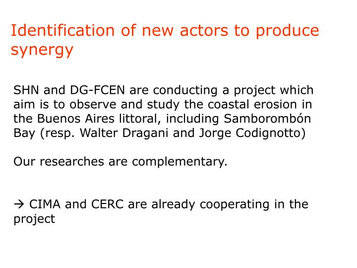 Identification of new actors to produce synergy