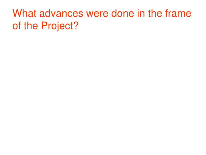 What advances were done in the frame of the Project?