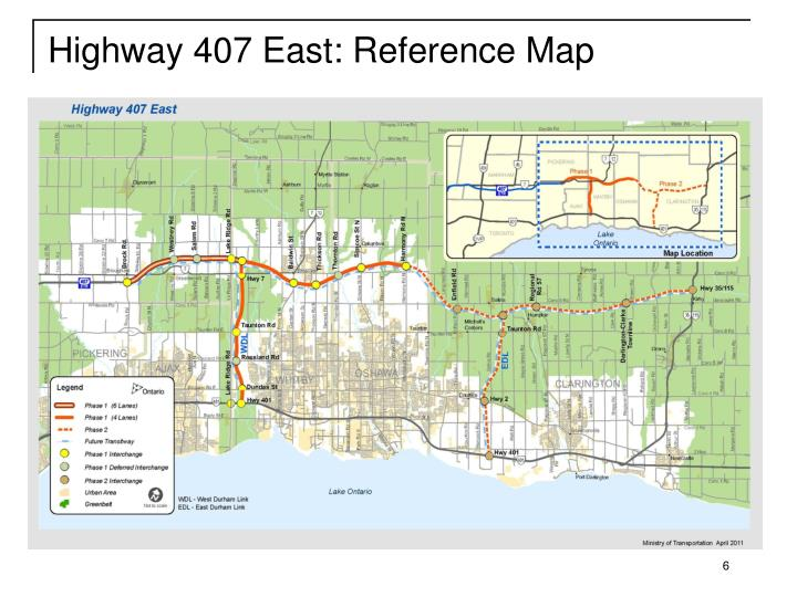 Highway 407 East: Reference Map