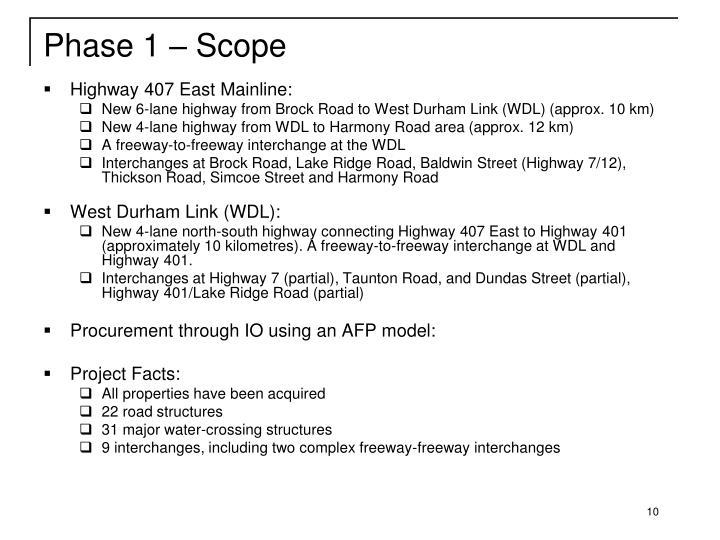Phase 1 – Scope