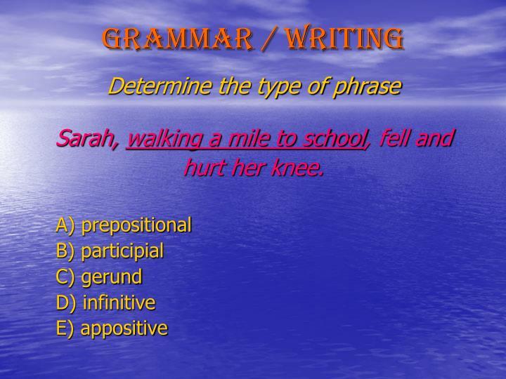 Grammar / Writing