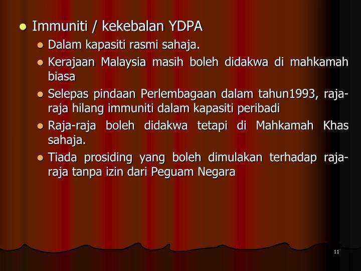 Immuniti / kekebalan YDPA