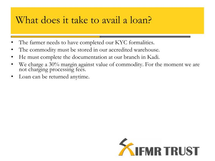 What does it take to avail a loan?