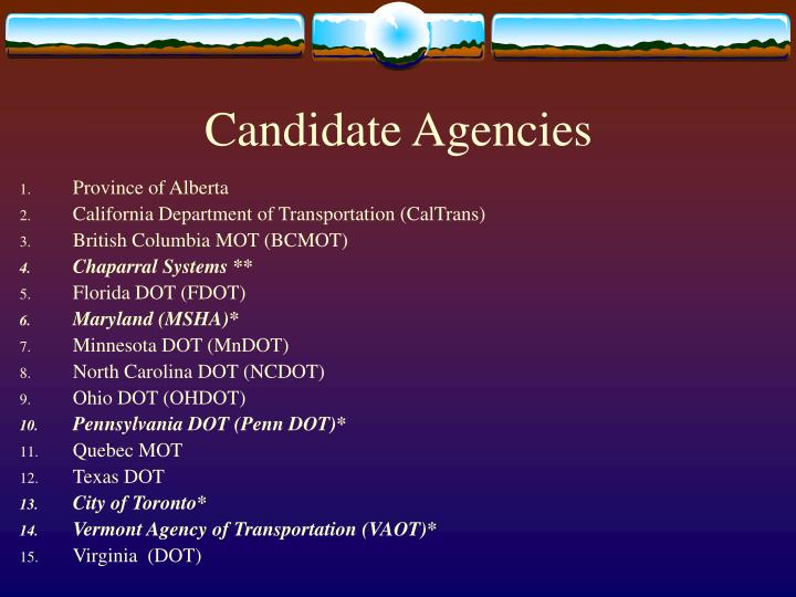 Candidate Agencies
