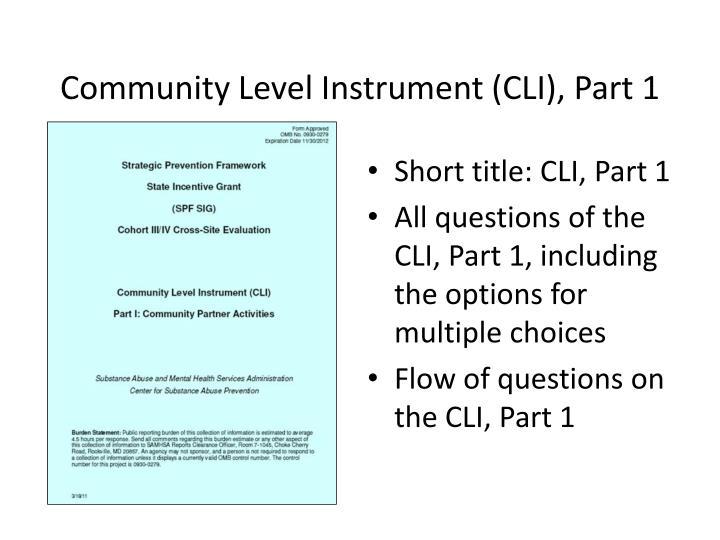 Community Level Instrument (CLI), Part 1