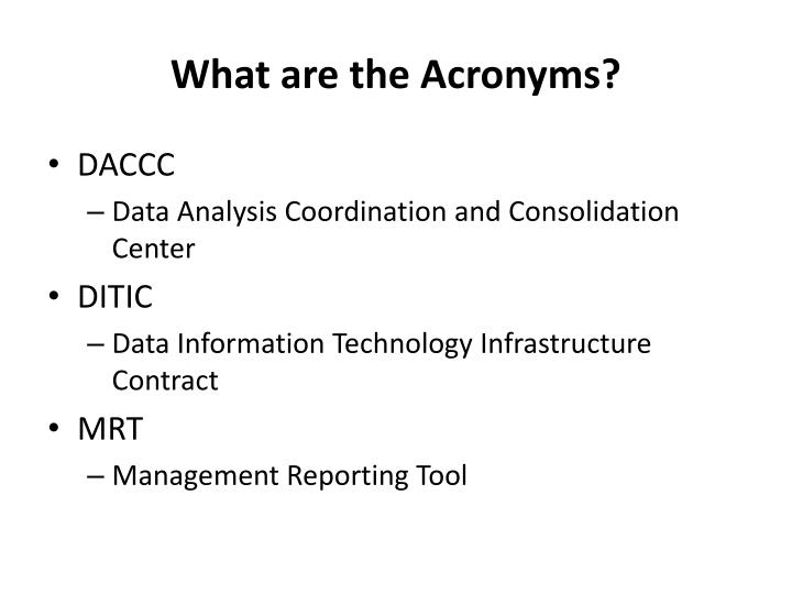 What are the Acronyms?