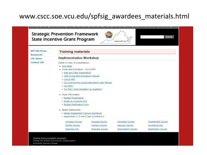 www.cscc.soe.vcu.edu/spfsig_awardees_materials.html