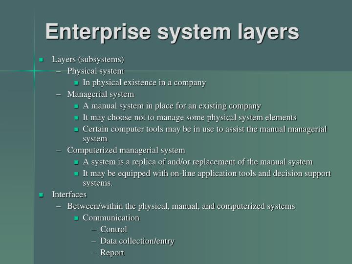 Enterprise system layers