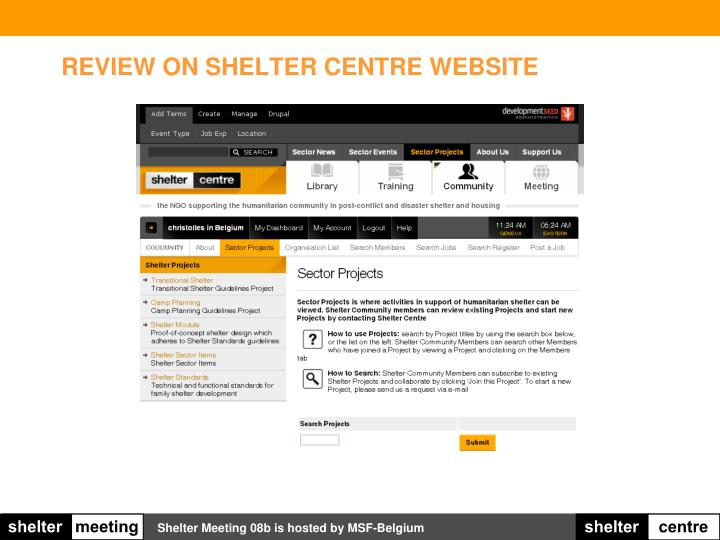 Review on shelter centre website