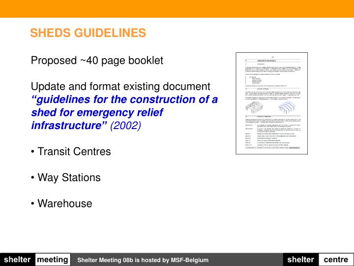 SHEDS GUIDELINES