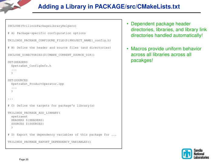 Adding a Library in PACKAGE/src/CMakeLists.txt