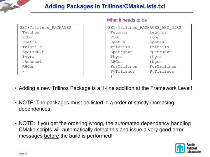 Adding Packages in Trilinos/CMakeLists.txt