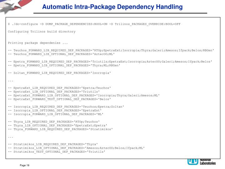 Automatic Intra-Package Dependency Handling