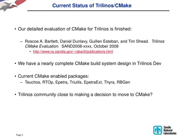 Current status of trilinos cmake