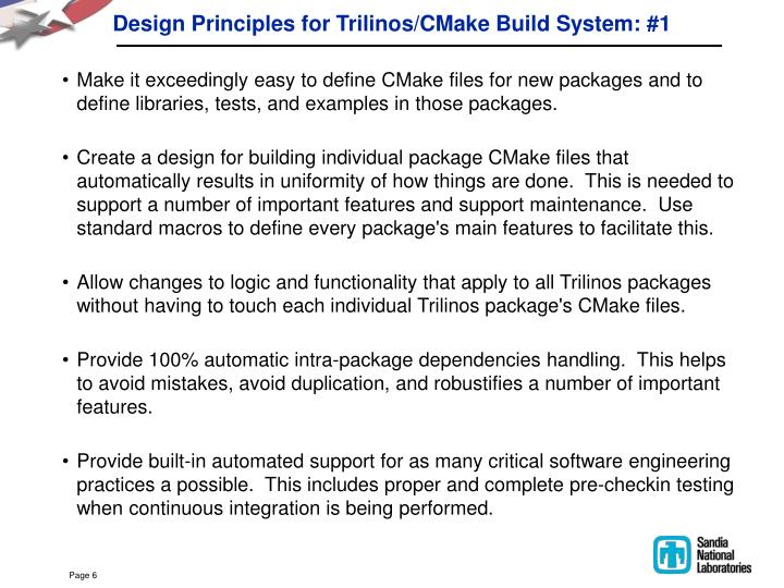 Design Principles for Trilinos/CMake Build System: #1