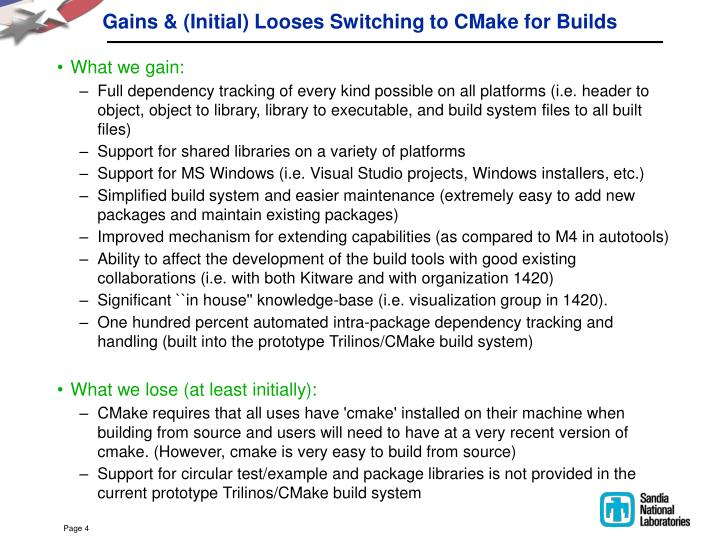 Gains & (Initial) Looses Switching to CMake for Builds