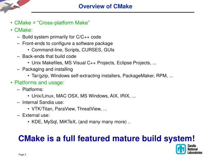 Overview of cmake