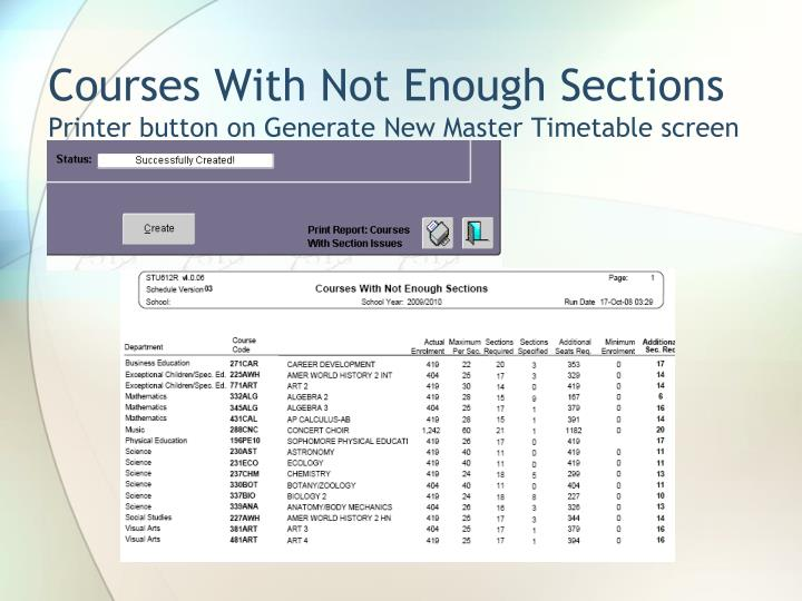 Courses With Not Enough Sections