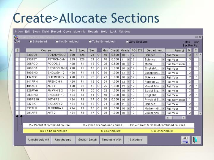 Create>Allocate Sections