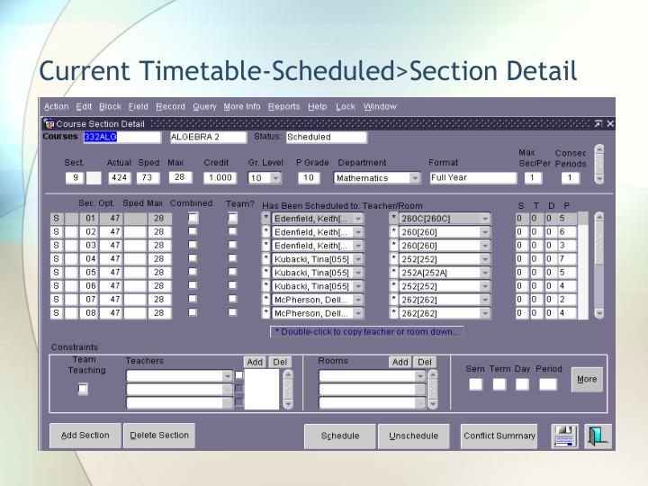 Current Timetable-Scheduled>Section Detail