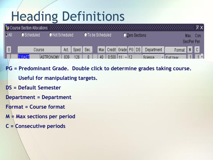 Heading Definitions
