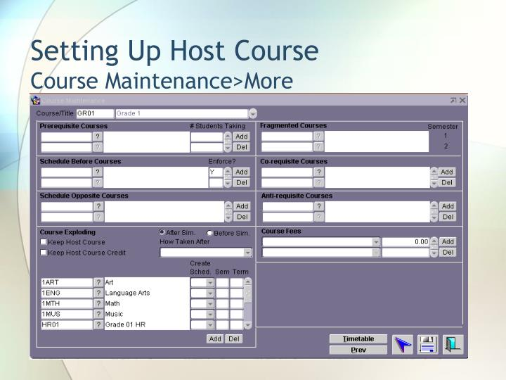 Setting Up Host Course