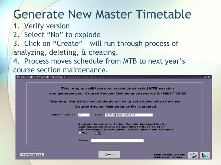 Generate New Master Timetable