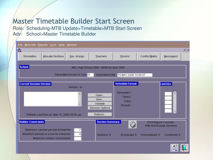 Master Timetable Builder Start Screen