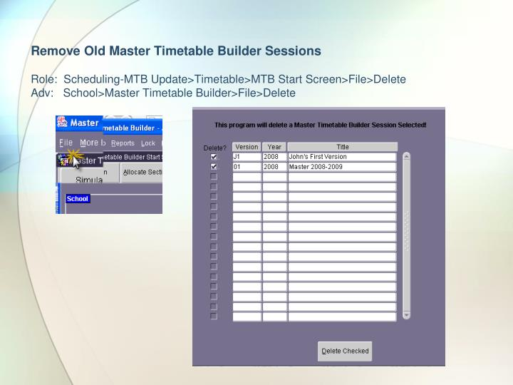 Remove Old Master Timetable Builder Sessions
