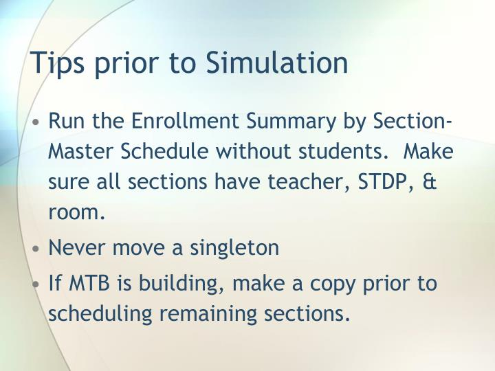 Tips prior to Simulation