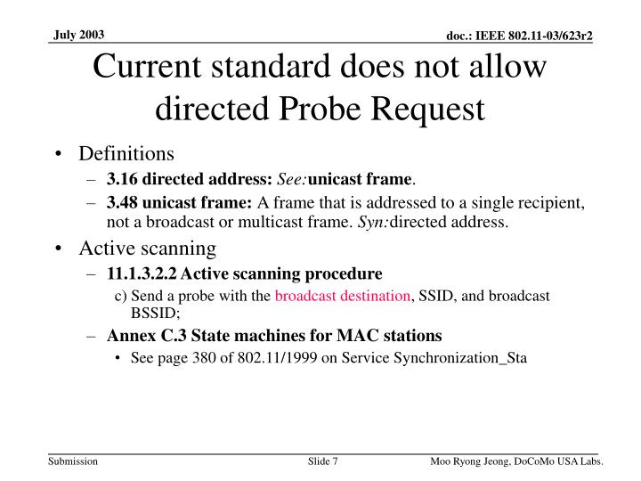 Current standard does not allow directed Probe Request