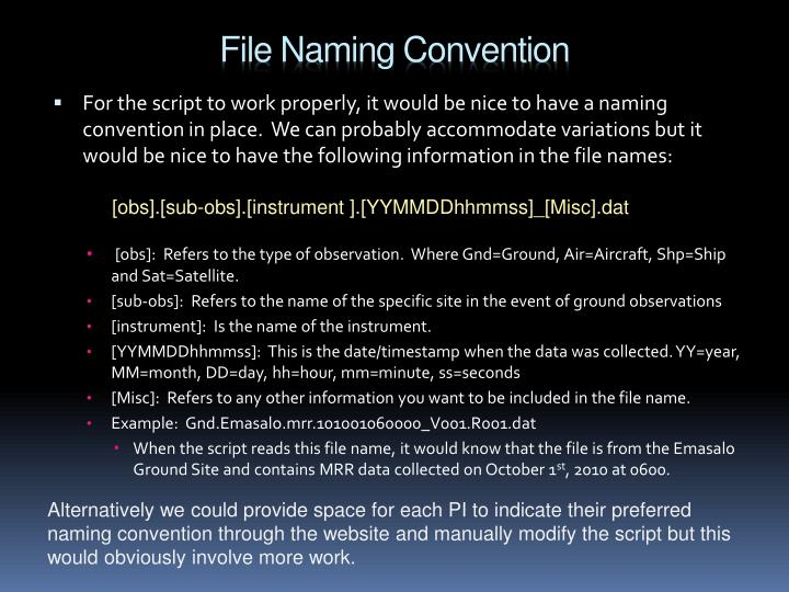 File Naming Convention