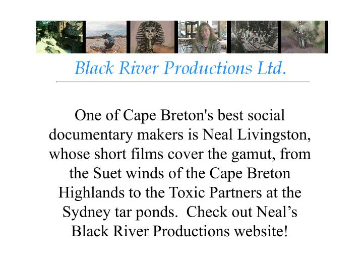 One of Cape Breton's best social documentary makers is Neal Livingston, whose short films cover the gamut, from the Suet winds of the Cape Breton Highlands to the Toxic Partners at the Sydney tar ponds.  Check out Neal's Black River Productions website!